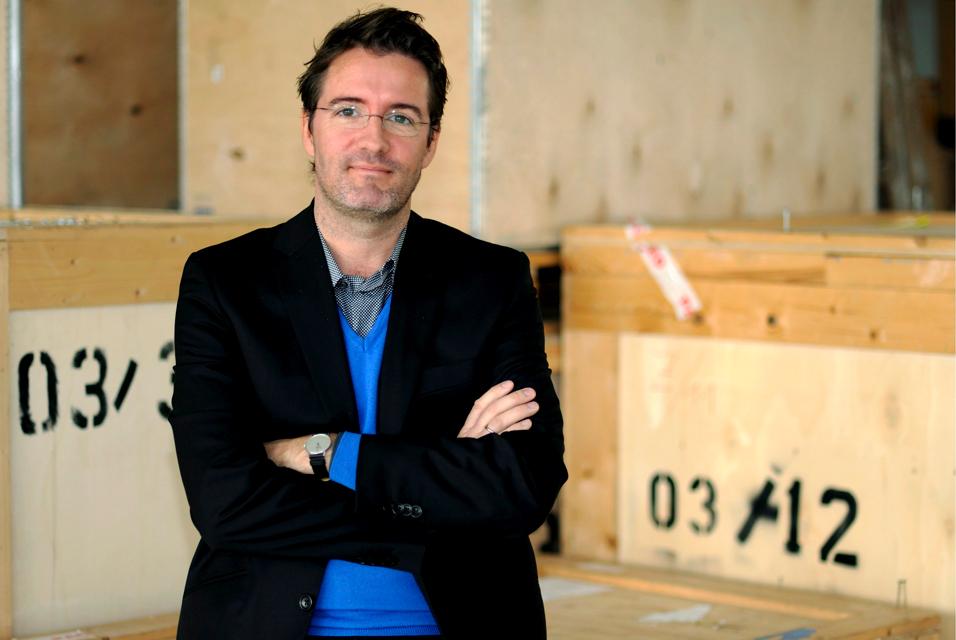 Danish artist Olafur Eliasson poses at his new studio in Berlin