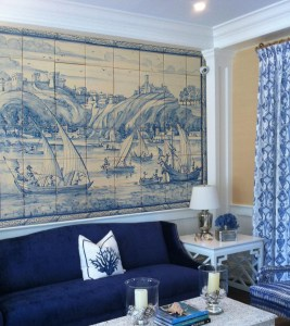 monochrome mural with boats in old european style and portuguese tile