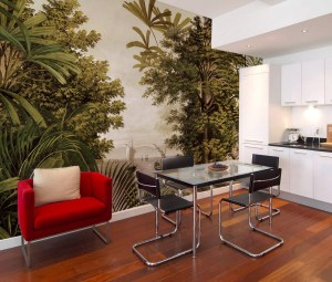 Mural of a Jungle rainforest with sailboats