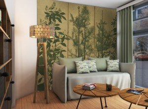 modern contemporary trees mural against a gold background