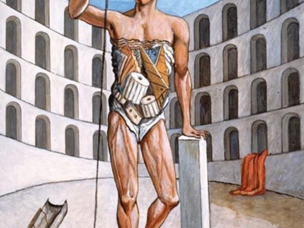 Giorgio De Chirico, Gladiatore nell'arena, 1975, olio su tela, cm. 90×70