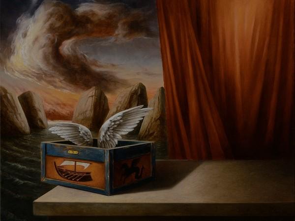 Ciro Palumbo, Il dono dell'intelligenza, 2014, olio s u tela, cm 40x50