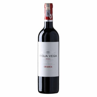 Rioja Vega Crianza, Intense cherry red colour. On the nose, there are notes of ripe fruit which are well integrated with toasted aromas of cinnamon, caramelised tofee and butter. On the palate, this is a velvety wine with good structure and good fruit levels. High quality tannins abound