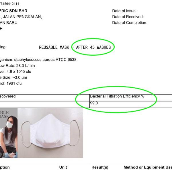 Vircast Medic Reusable Mask BFE > 99% Certificate