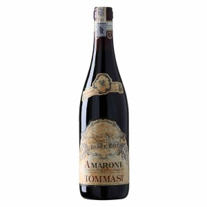 Tommasi Amarone Della Valpolicella Classico. Very intense ruby red color, the nose reveals intense and clean scents of very ripe cherry, black cherry, wild berries followed by fresh and slightly spicy tones. In the mouth it is dry and soft at the same time, enveloping and of great balance thanks to the excellent balance between acidity and tannins. The whole tasting is embellished with a very pleasant tannic texture, which fades towards a finish of excellent persistence, with light hints of red fruit.