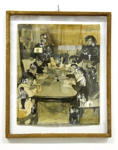 Oriella Montin, Rammendo – Mending n°2328, 2013, intervento con ago e filo su fotografia d'epoca con cornice garzata tinta col caffè, cm 29x24