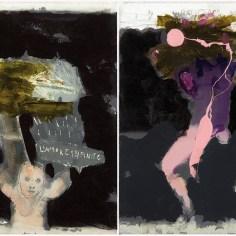 Guido Pecci, Figures in the darkness #1 #2 (dittico), 2014, olio, acrilico, grafite su tela, cm 30x50. Courtesy: Federico Rui arte Contemporanea, Milano