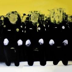 Lucia Simone, Uniformi, 2015, olio su tela, cm 100x100