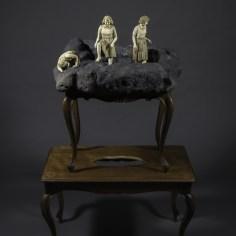 Serena Zanardi, Voragine, 2015, ceramica raku, grès, tavolini in legno antichi, cm 136x75x50