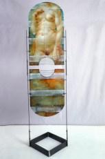 Il violone della comare, 2002, cm 57x75x210, olio su tavola e ferro