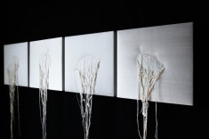 Nutriti di bugie (particolare installazione), 2015, cm cad. 32.5x32.5, seta shantung e filo di seta