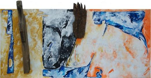 Il dovere della parola contraria, 2016, cm 200x100x18, acrilico e legno su truciolare