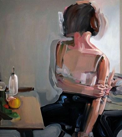 Evita Andujar, Stolen selfie 5 o Io non ci sono, serie Liquidi, 2018, acrilico su tela, cm 90x80