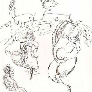 1966 Chagall Sketch 7 Lithograph Paris Opera