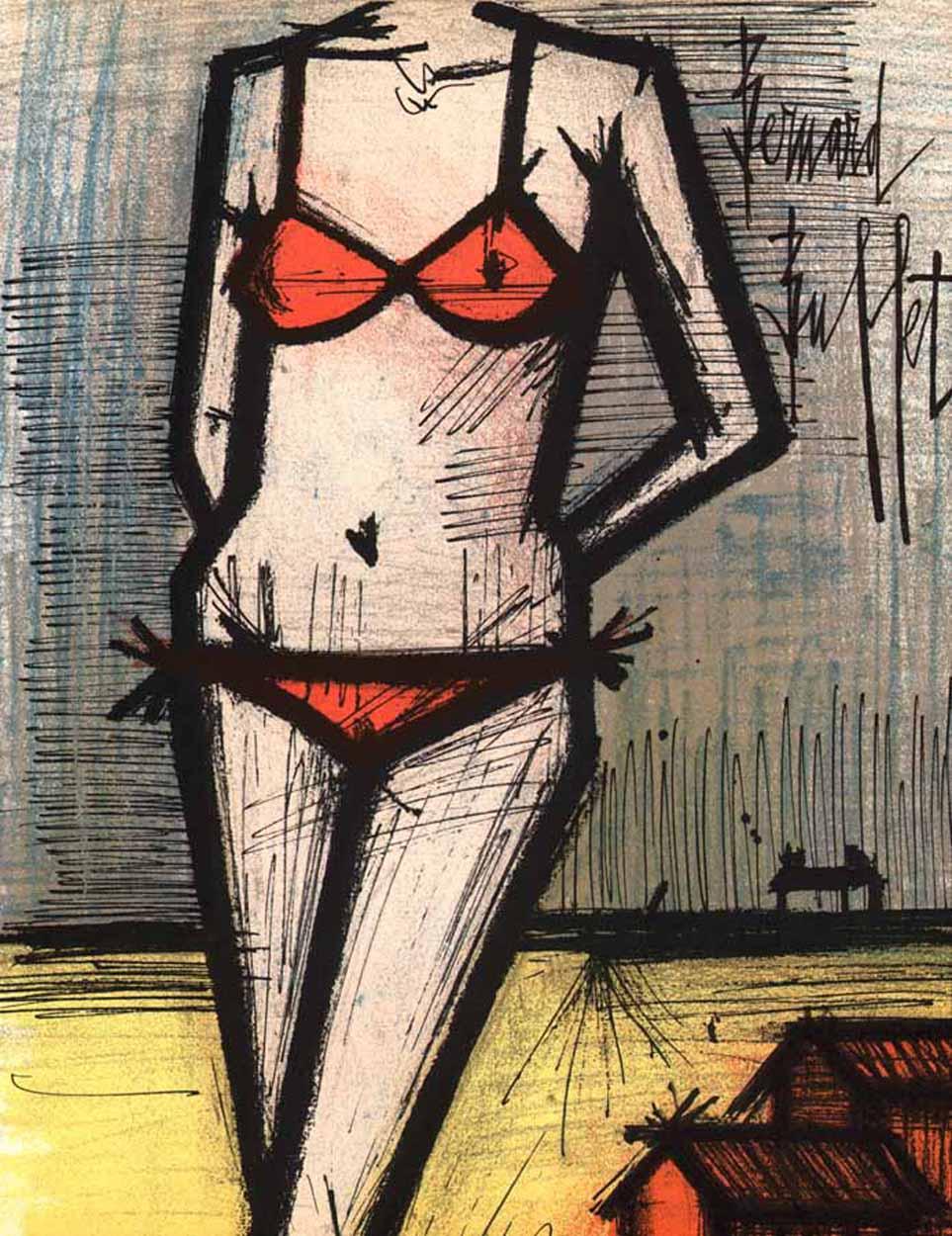 """Bernard Buffet """"On the beach"""" Original Lithograph 1968"""