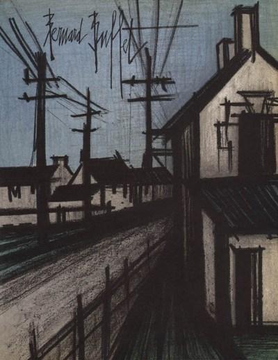 """Bernard Buffet """"The village road"""" Original Lithograph 1968"""