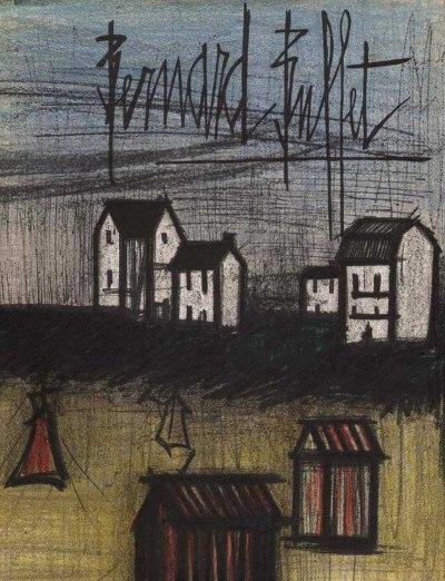 """Bernard Buffet """"Landscape 1"""" Original Lithograph 1968"""