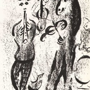 Marc Chagall Original lithograph, Inerant players 1963