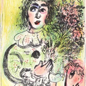 Chagall Lithograph, The Clown with Flowers 1963