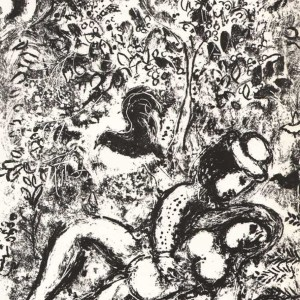 Marc Chagall Lithograph, The pair in a tree 1963