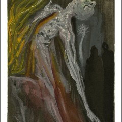 """Dali Woodcut """"Hell 9 -The furies"""" suite Divine Comedy"""