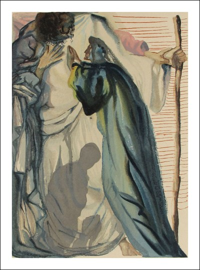 "Dali Woodcut ""Purgatory 14 -A spirit question dante"" suite Divine Comedy"
