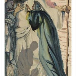 Dali Woodcut, A spirit question dante - Purgatory 14