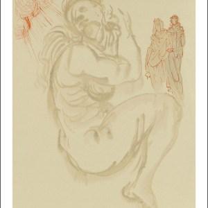 Salvador Dali Woodcut, Dante's dream - Purgatory 19