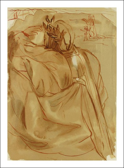 "Dali Woodcut ""Purgatory 30 - Announcement of great event"" Divine Comedy"