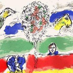 "Chagall Original lithograph ""Le fleuve"" printed 1975 by Mourlot"