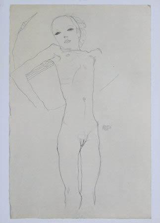 "Schiele Egon, 22, Lithograph, ""Nude Girl"" printed 1968"