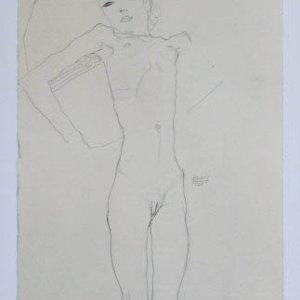Egon Schiele Lithograph 22, Nude Girl, 1968