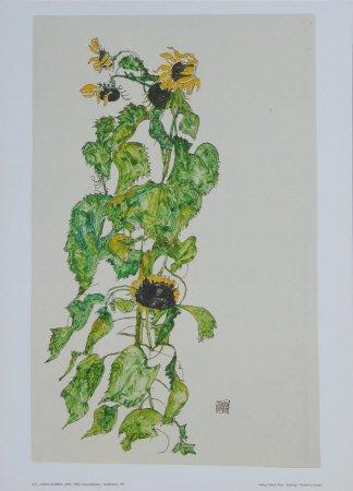"Schiele Egon, 51, Lithograph, ""Sunflowers 1917"" printed 1968"