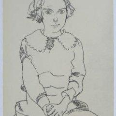 "Schiele Egon, 60, Lithograph""Seated Girl 'Maria Steiner"" 1968"