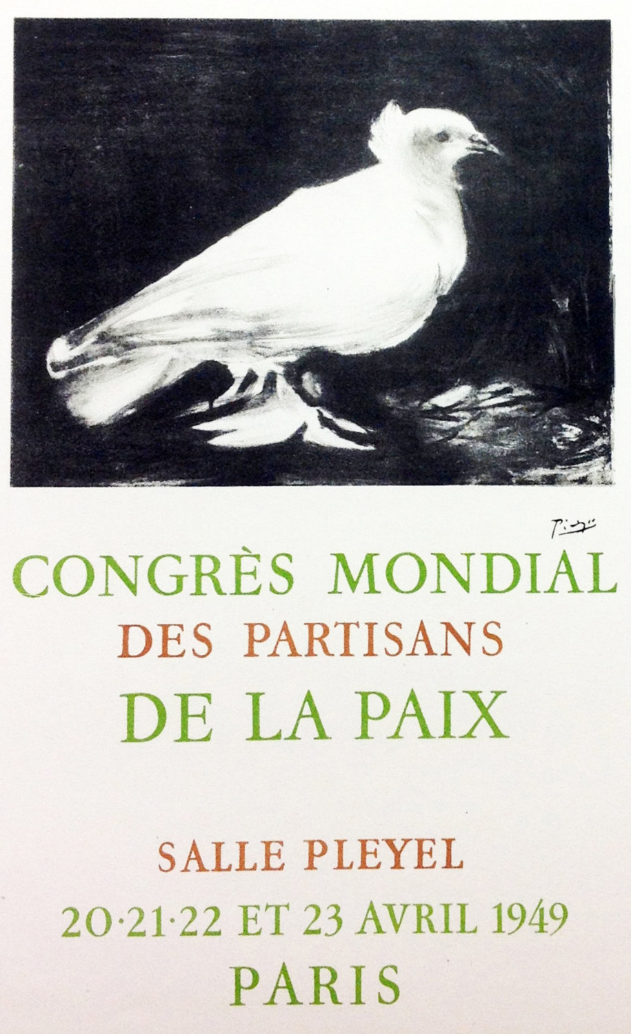 """Picasso 60 Lithograph """"Congress mondial"""" 1959 Mourlot Art in posters"""