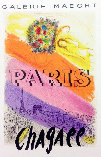 """Chagall 21 """"Paris"""" Art in posters Mourlot 1959"""