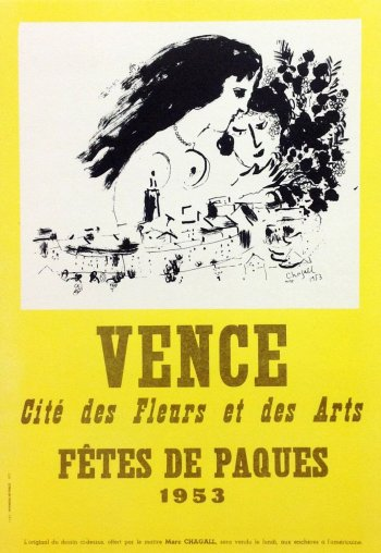 Chagall Lithograph 18, Vence 1953, Art in posters
