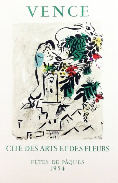 """Chagall 20 """"Vence 1954"""" Art in posters 1959 Mourlot"""