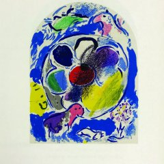 "Chagall Lithograph ""Sketch of Benjamin"" Jerusalem windows 1962"