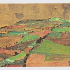 "Schiele Egon, 13, Lithograph, ""Hill near knumau"" printed 1968"