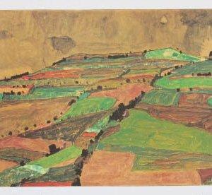 Schiele Lithograph 13, Hill Near Knumau,1968