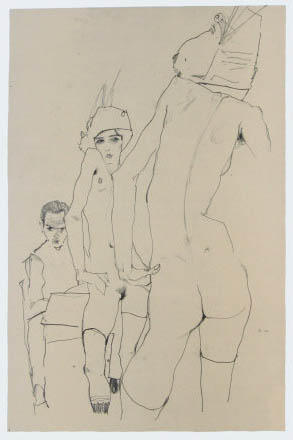 """Schiele Egon, 10, Lithograph, """"Drawing Model in front of a mirror"""" 1968"""