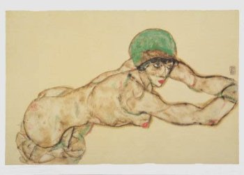 Schiele 41, Lithograph Female Nude to the Rright, 1968
