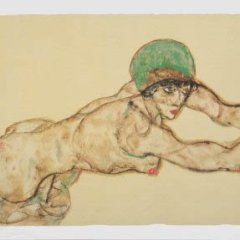 "Schiele Egon, 42, Lithograph, ""Female nude to the right"" Printed 1968"