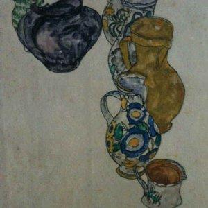 Egon Schiele Lithograph 64, Persian Jugs, 1968