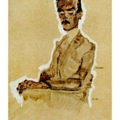 "Schiele Egon, 7, Lithograph, ""Portrait of Eduard seated"" 1968"