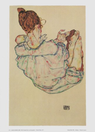 "Schiele Egon, 57, Lithograph, ""Sitting woman"" printed 1968"