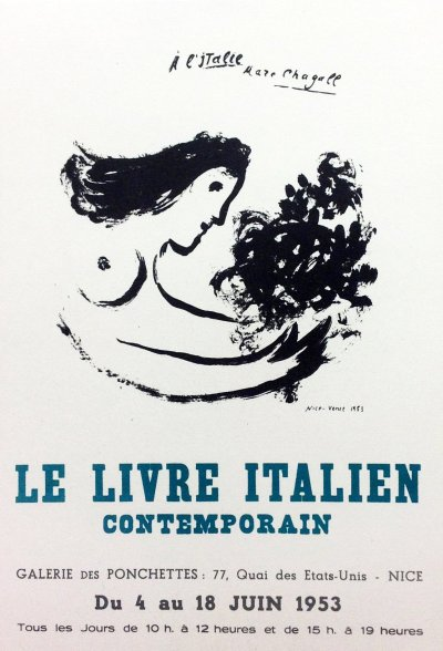 "Chagall 19 ""Le livre Italien contemporain"" Art in posters Mourlot 1959"