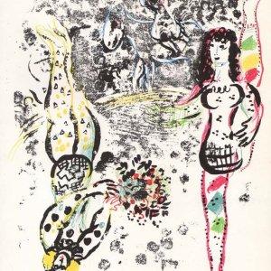 Marc Chagall Lithograph, Acrobat at play 1963