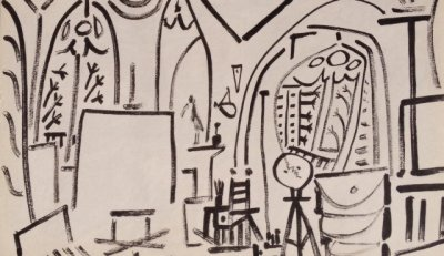 Picasso's Sketchbook Lithograph 3 Date 3/11/1955